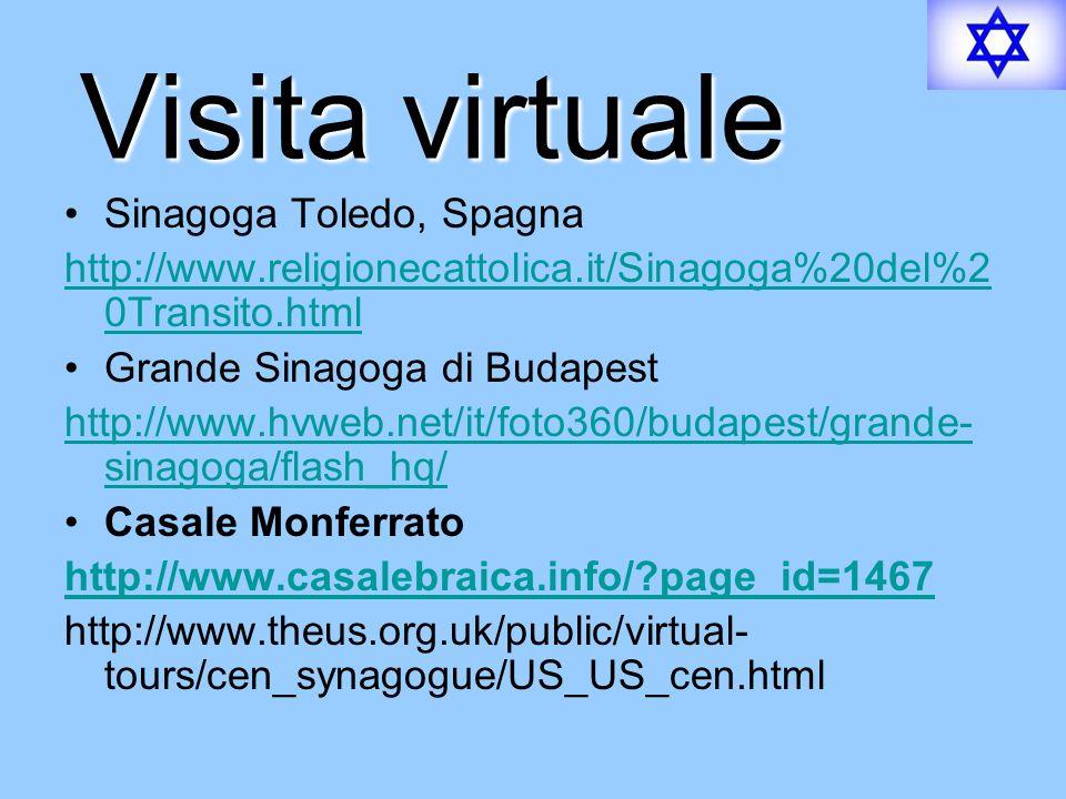 Visita virtuale Sinagoga Toledo, Spagna http://www.religionecattolica.it/Sinagoga%20del%2 0Transito.html Grande Sinagoga di Budapest http://www.hvweb.