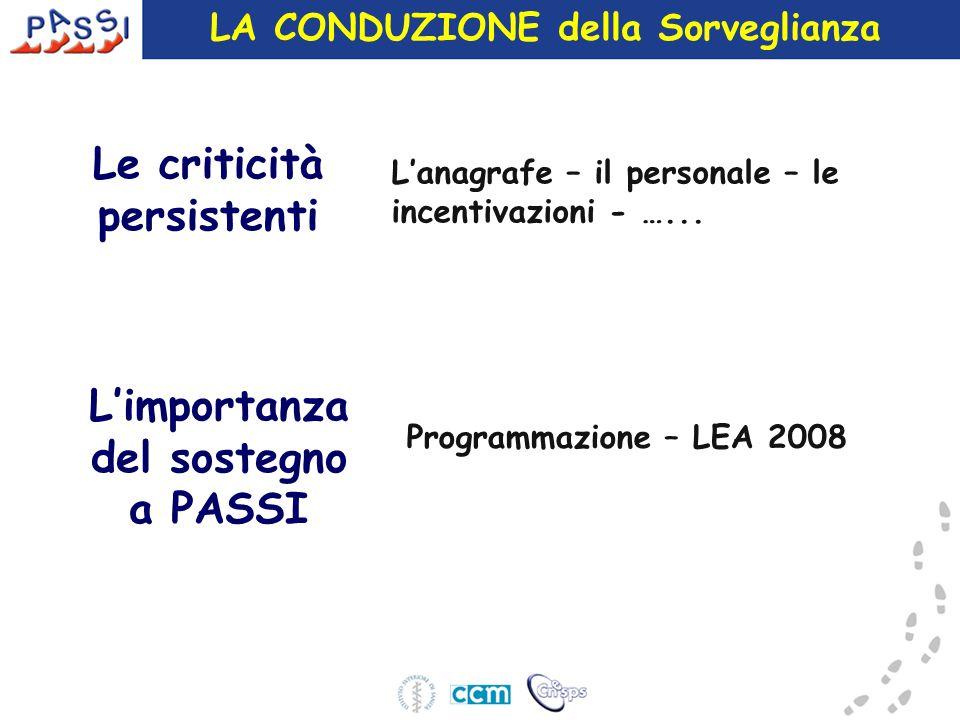 LA CONDUZIONE della Sorveglianza L'importanza del sostegno a PASSI L'anagrafe – il personale – le incentivazioni - …... Le criticità persistenti Progr