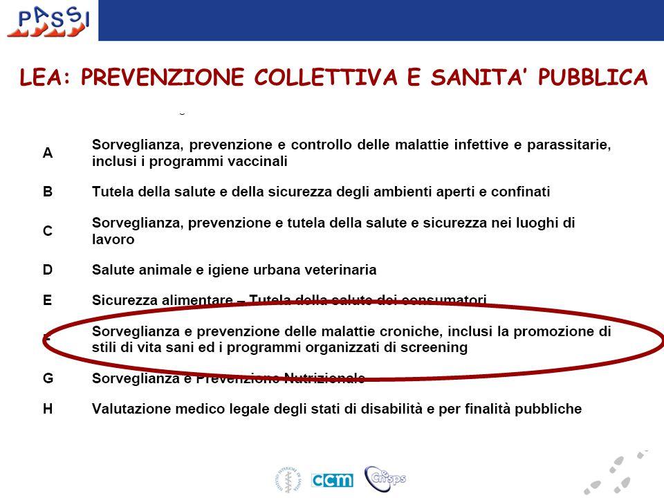 LEA: PREVENZIONE COLLETTIVA E SANITA' PUBBLICA