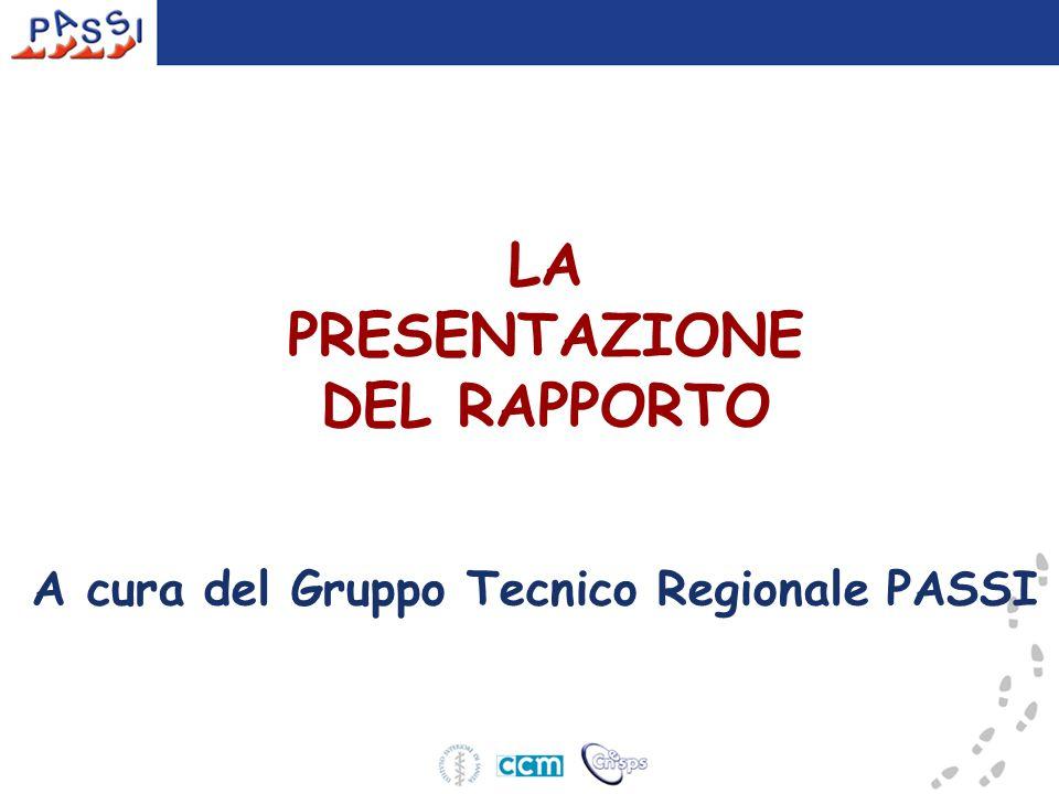 LA PRESENTAZIONE DEL RAPPORTO A cura del Gruppo Tecnico Regionale PASSI