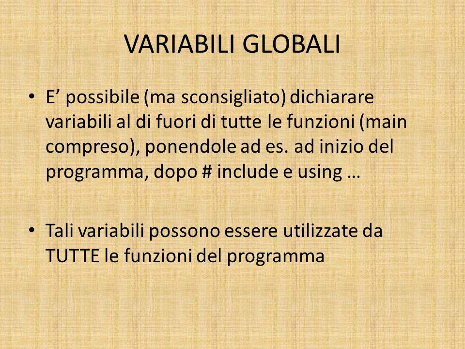VARIABILI GLOBALI E' possibile (ma sconsigliato) dichiarare variabili al di fuori di tutte le funzioni (main compreso), ponendole ad es.