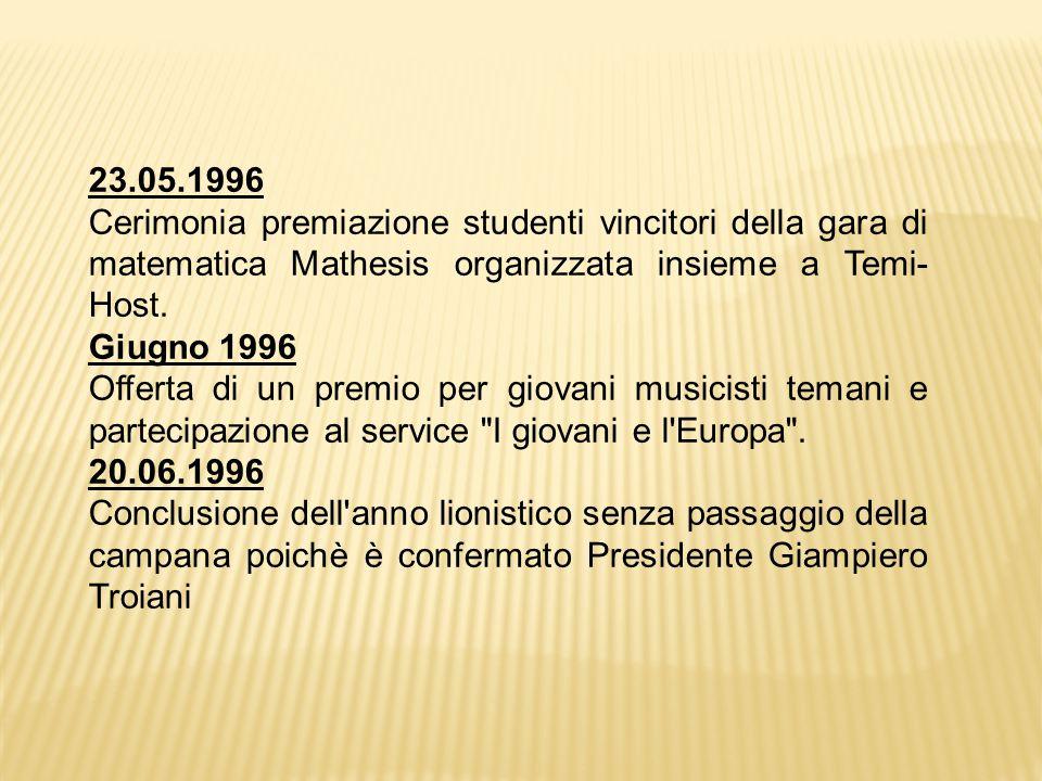 23.05.1996 Cerimonia premiazione studenti vincitori della gara di matematica Mathesis organizzata insieme a Temi- Host.