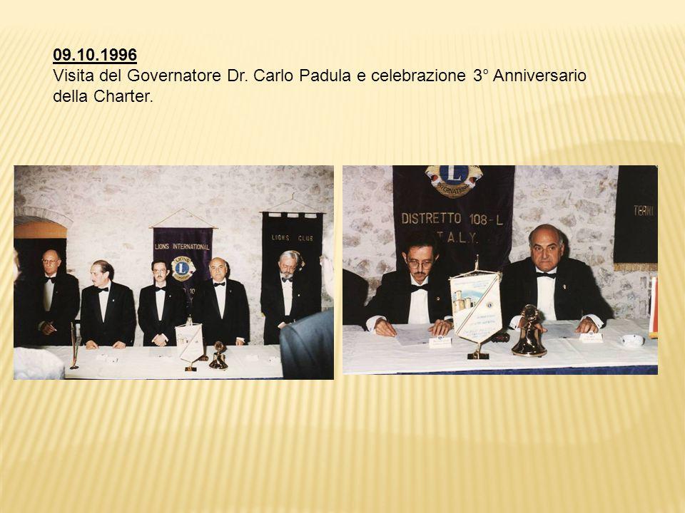 09.10.1996 Visita del Governatore Dr. Carlo Padula e celebrazione 3° Anniversario della Charter.