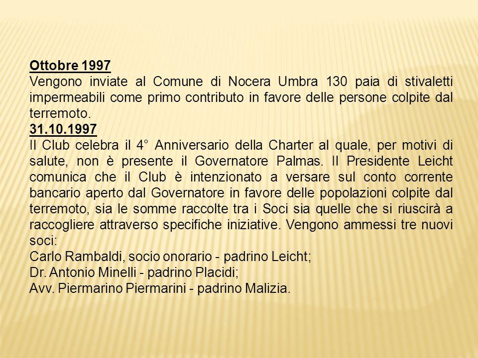 Ottobre 1997 Vengono inviate al Comune di Nocera Umbra 130 paia di stivaletti impermeabili come primo contributo in favore delle persone colpite dal terremoto.