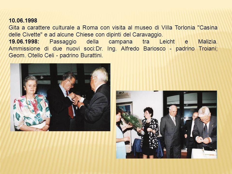 10.06.1998 Gita a carattere culturale a Roma con visita al museo di Villa Torlonia Casina delle Civette e ad alcune Chiese con dipinti del Caravaggio.