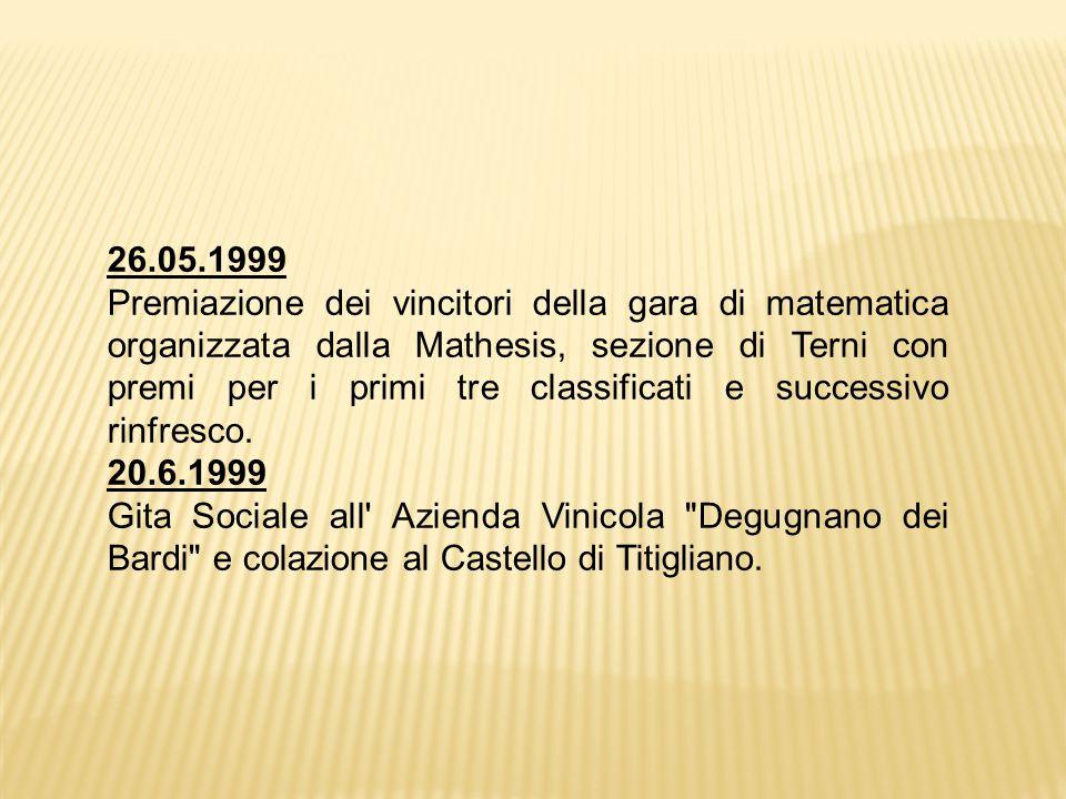 26.05.1999 Premiazione dei vincitori della gara di matematica organizzata dalla Mathesis, sezione di Terni con premi per i primi tre classificati e successivo rinfresco.