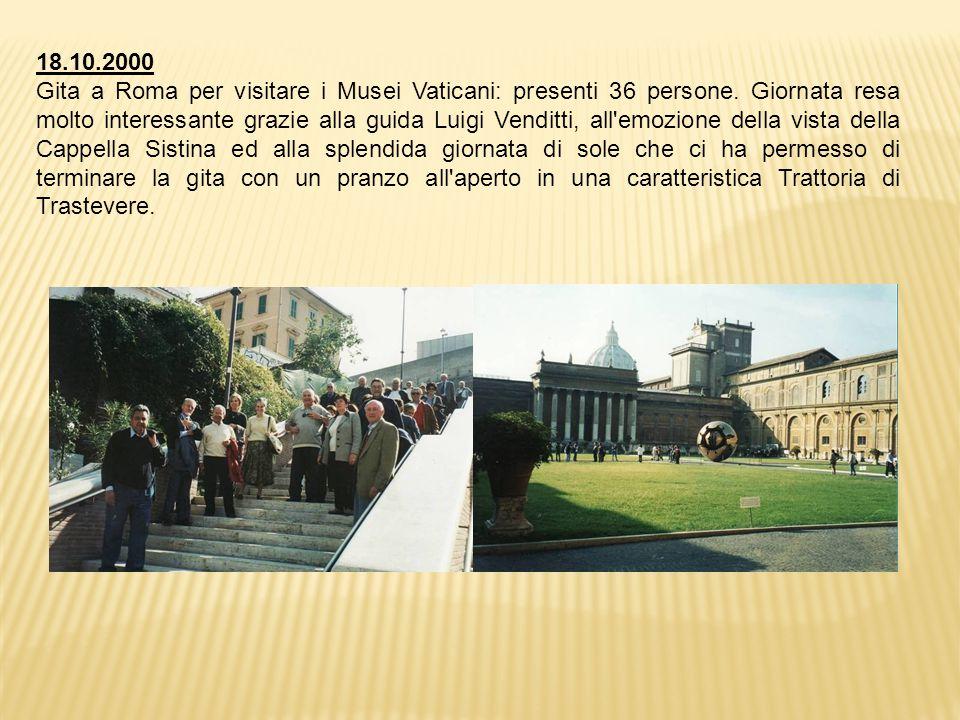18.10.2000 Gita a Roma per visitare i Musei Vaticani: presenti 36 persone.