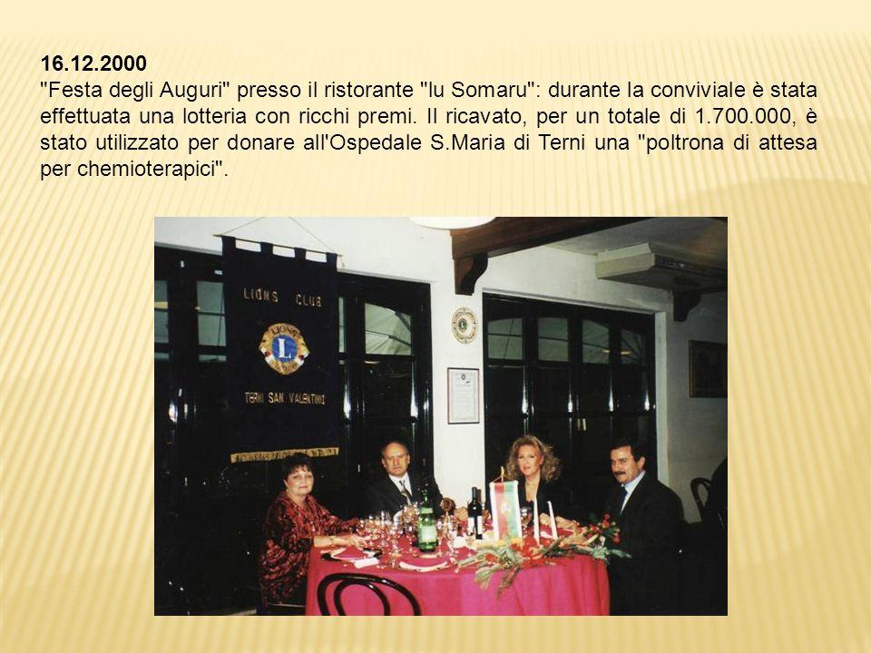 16.12.2000 Festa degli Auguri presso il ristorante lu Somaru : durante la conviviale è stata effettuata una lotteria con ricchi premi.