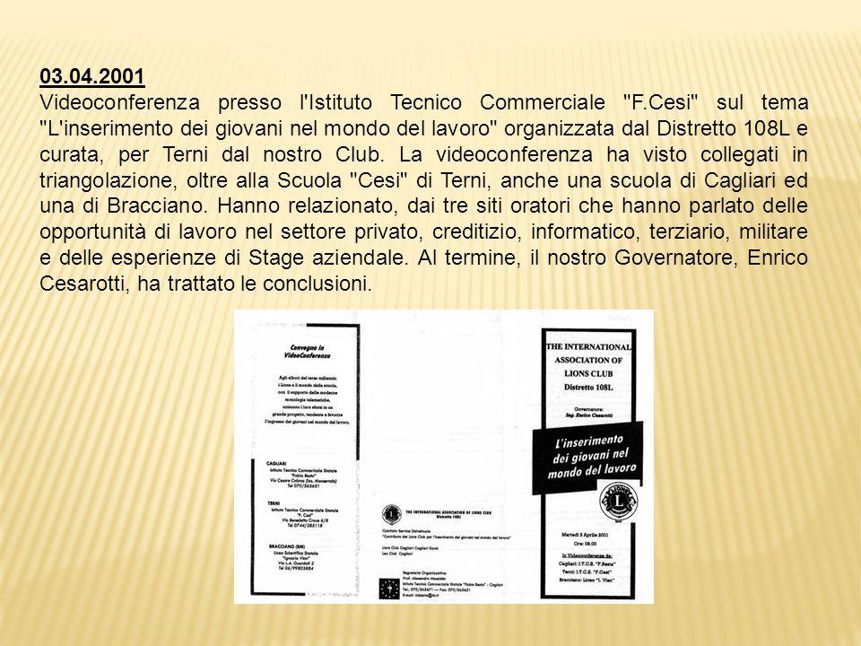 03.04.2001 Videoconferenza presso l Istituto Tecnico Commerciale F.Cesi sul tema L inserimento dei giovani nel mondo del lavoro organizzata dal Distretto 108L e curata, per Terni dal nostro Club.