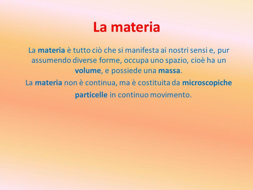 La materia La materia è tutto ciò che si manifesta ai nostri sensi e, pur assumendo diverse forme, occupa uno spazio, cioè ha un volume, e possiede un