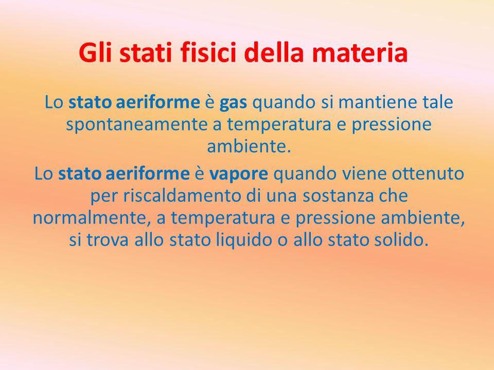 Gli stati fisici della materia Lo stato aeriforme è gas quando si mantiene tale spontaneamente a temperatura e pressione ambiente. Lo stato aeriforme