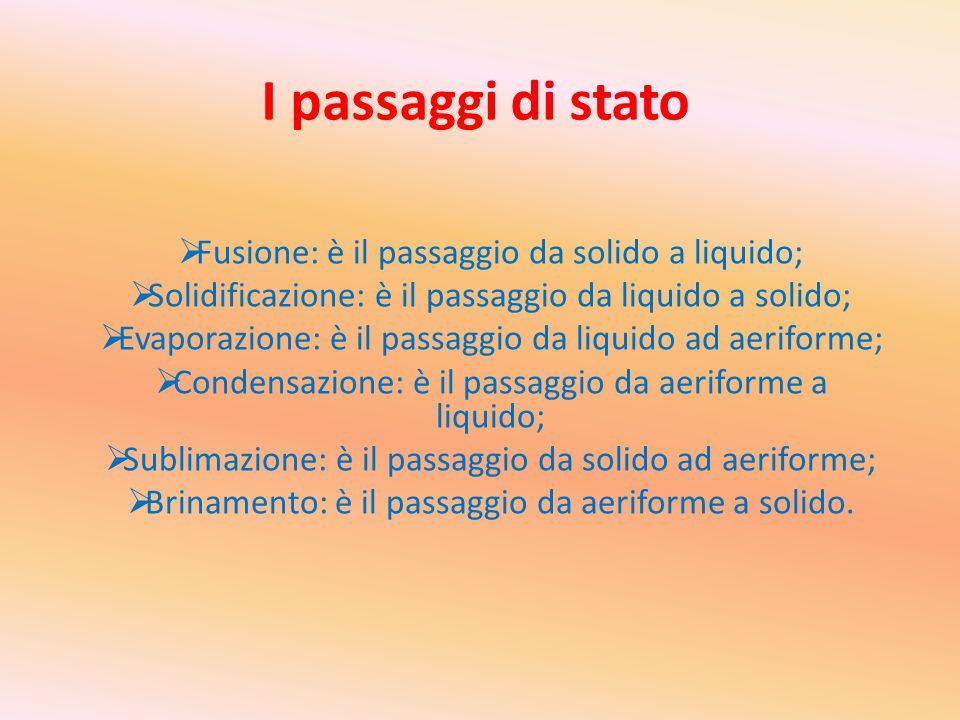 I passaggi di stato  Fusione: è il passaggio da solido a liquido;  Solidificazione: è il passaggio da liquido a solido;  Evaporazione: è il passagg
