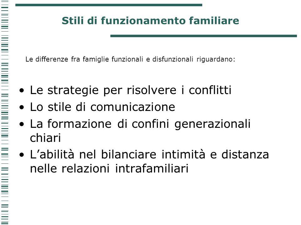 Stili di funzionamento familiare Le differenze fra famiglie funzionali e disfunzionali riguardano: Le strategie per risolvere i conflitti Lo stile di