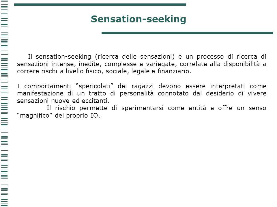Sensation-seeking Il sensation-seeking (ricerca delle sensazioni) è un processo di ricerca di sensazioni intense, inedite, complesse e variegate, corr