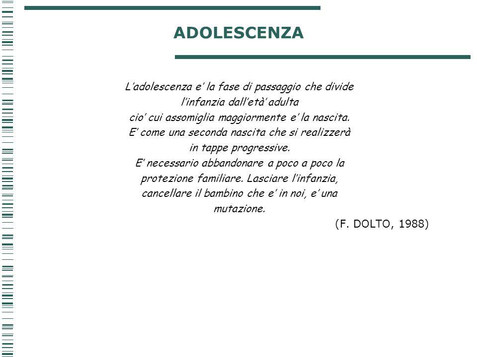 ADOLESCENZA L'adolescenza e' la fase di passaggio che divide l'infanzia dall'età' adulta cio' cui assomiglia maggiormente e' la nascita. E' come una s