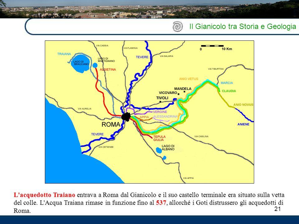 21 Il Gianicolo tra Storia e Geologia L'acquedotto Traiano entrava a Roma dal Gianicolo e il suo castello terminale era situato sulla vetta del colle.