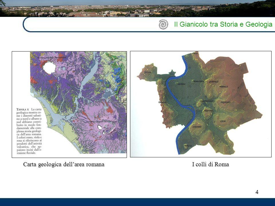 4 Il Gianicolo tra Storia e Geologia Carta geologica dell'area romana I colli di Roma
