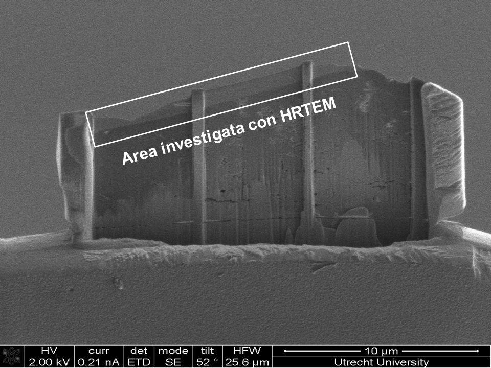 Area investigata con HRTEM