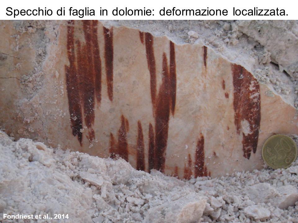 Specchio di faglia in dolomie: deformazione localizzata. Fondriest et al., 2014