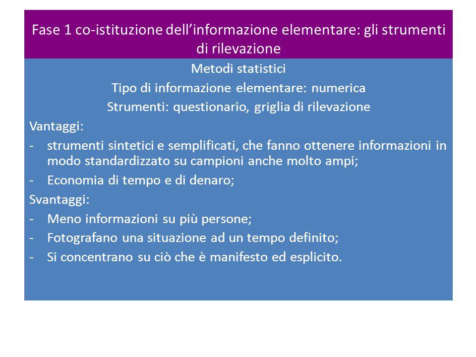 Fase 1 co-istituzione dell'informazione elementare: gli strumenti di rilevazione Metodi statistici Tipo di informazione elementare: numerica Strumenti