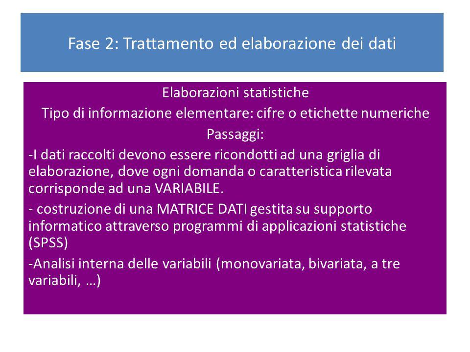 Elaborazioni statistiche Tipo di informazione elementare: cifre o etichette numeriche Passaggi: -I dati raccolti devono essere ricondotti ad una grigl
