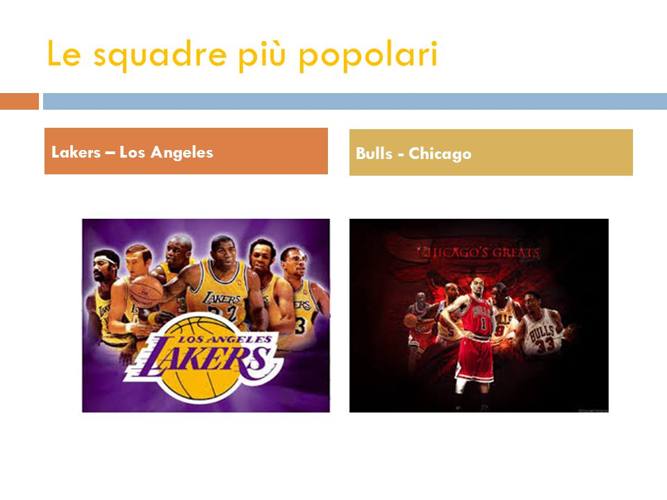 Le squadre più popolari Lakers – Los Angeles Bulls - Chicago