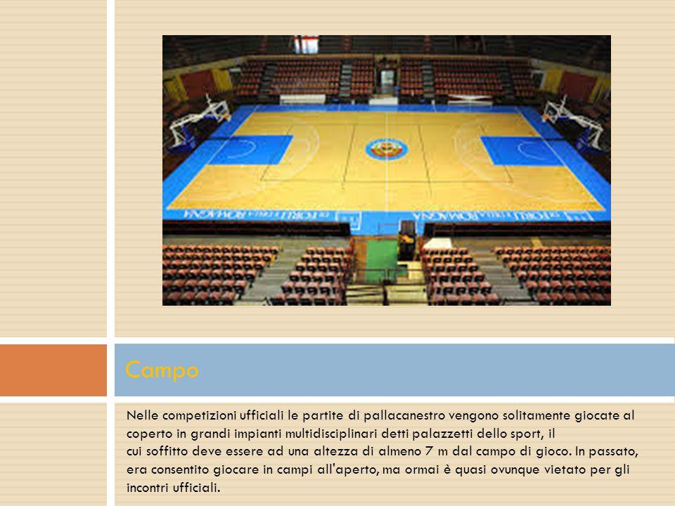 Nelle competizioni ufficiali le partite di pallacanestro vengono solitamente giocate al coperto in grandi impianti multidisciplinari detti palazzetti