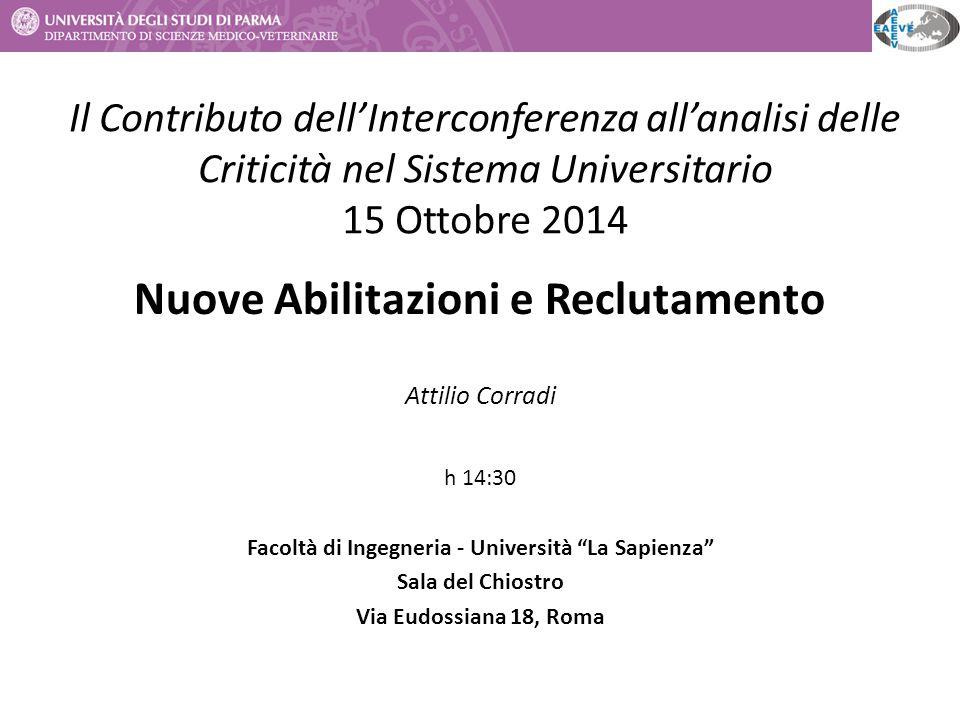 Il Contributo dell'Interconferenza all'analisi delle Criticità nel Sistema Universitario 15 Ottobre 2014 Nuove Abilitazioni e Reclutamento Attilio Cor