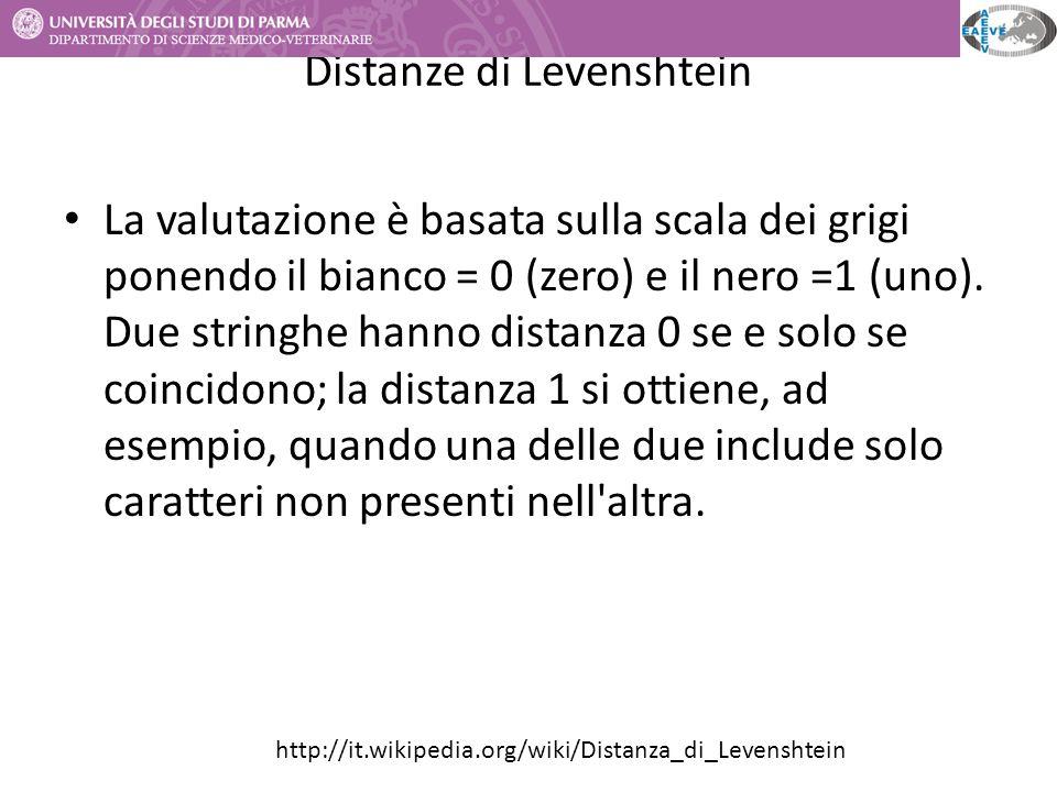 Distanze di Levenshtein La valutazione è basata sulla scala dei grigi ponendo il bianco = 0 (zero) e il nero =1 (uno). Due stringhe hanno distanza 0 s