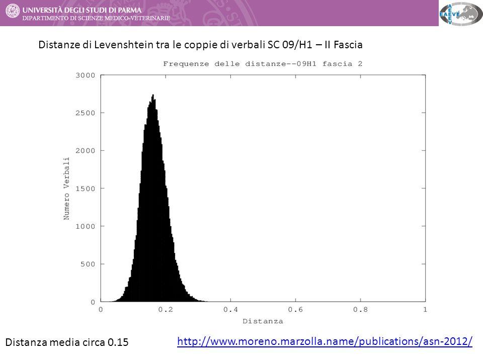 Distanza media circa 0.15 Distanze di Levenshtein tra le coppie di verbali SC 09/H1 – II Fascia