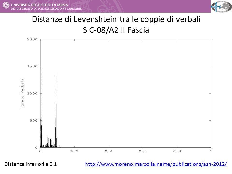 Distanze di Levenshtein tra le coppie di verbali S C-08/A2 II Fascia http://www.moreno.marzolla.name/publications/asn-2012/Distanza inferiori a 0.1