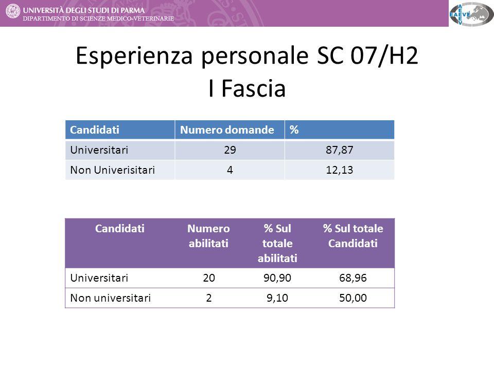 Esperienza personale SC 07/H2 I Fascia CandidatiNumero abilitati % Sul totale abilitati % Sul totale Candidati Universitari2090,9068,96 Non universita