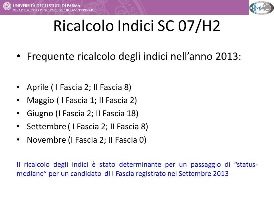 Ricalcolo Indici SC 07/H2 Frequente ricalcolo degli indici nell'anno 2013: Aprile ( I Fascia 2; II Fascia 8) Maggio ( I Fascia 1; II Fascia 2) Giugno