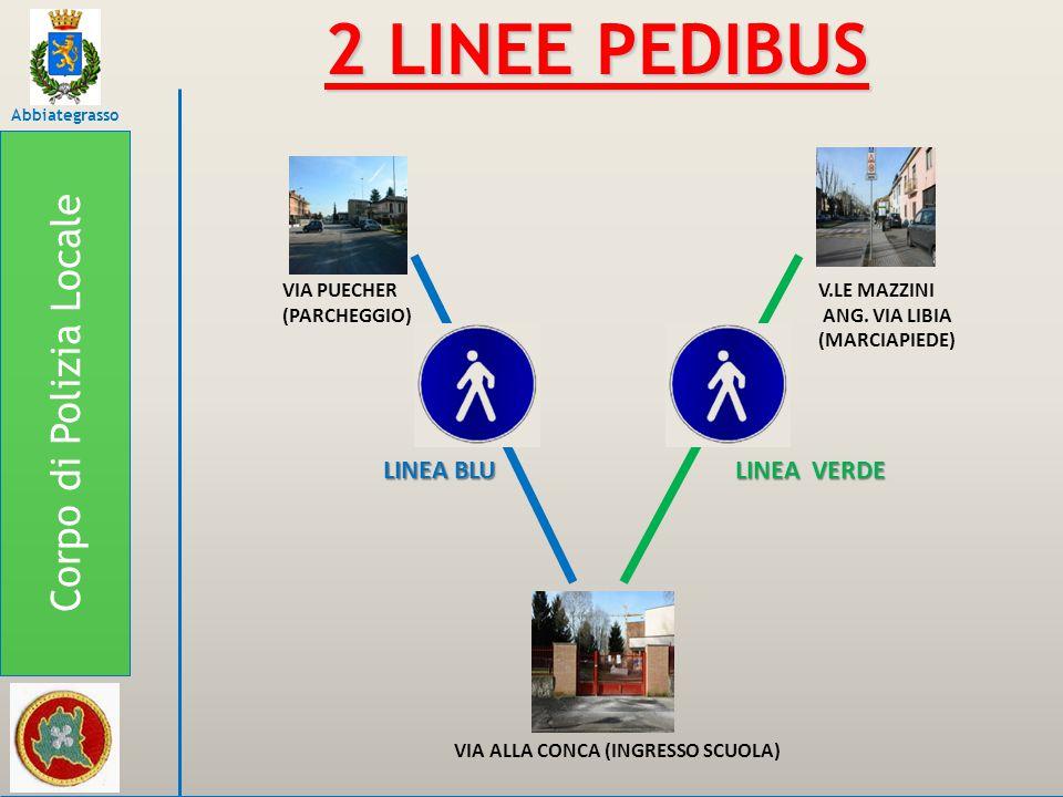 Corpo di Polizia Locale Abbiategrasso LINEA VERDE VIALE MAZZINI ALL'INTERSEZIONE CON VIA LIBIA - L'ampio marciapiede ospiterà il capolinea della linea verde del Pedibus che percorrerà tutto il viale tenendosi sul lato della FARMACIA COMUNALE La prima intersezione da affrontare sarà quella con VIA BRAMANTE, che è dotata di STRISCE PEDONALI Anche la successiva intersezione, quella con VIA DELLA FOLLETTA, è dotata di STRISCE PEDONALI ma occorre comunque prestare attenzione!