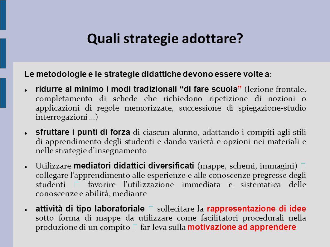 """Quali strategie adottare? Le metodologie e le strategie didattiche devono essere volte a : ridurre al minimo i modi tradizionali """"di fare scuola"""" (lez"""