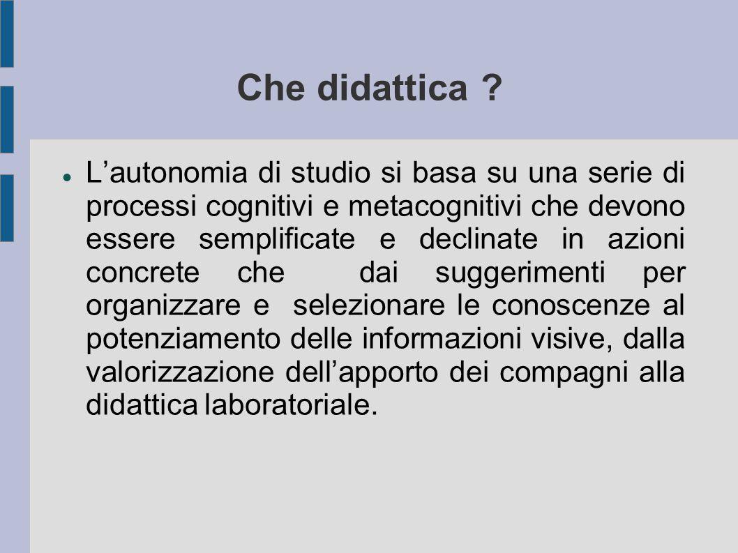 Che didattica ? L'autonomia di studio si basa su una serie di processi cognitivi e metacognitivi che devono essere semplificate e declinate in azioni