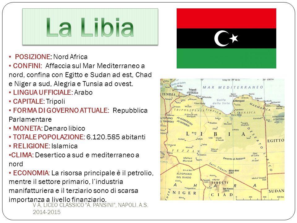 POSIZIONE: Nord Africa CONFINI: Affaccia sul Mar Mediterraneo a nord, confina con Egitto e Sudan ad est, Chad e Niger a sud, Alegria e Tunsia ad ovest