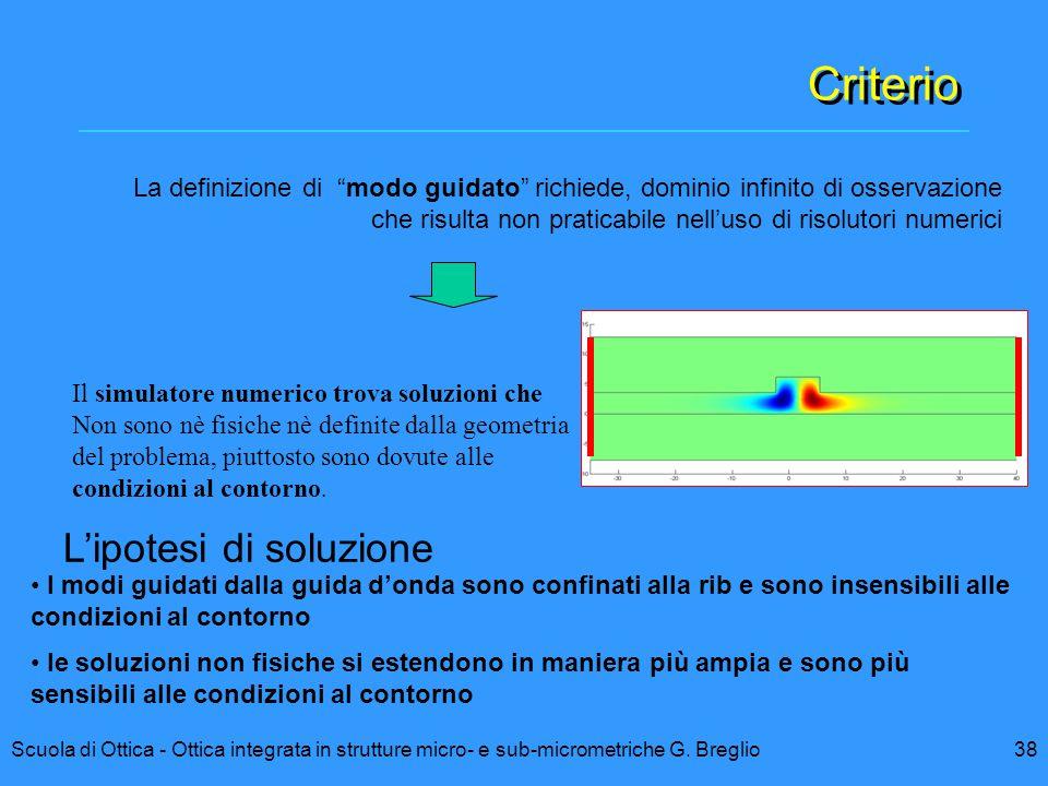 38Scuola di Ottica - Ottica integrata in strutture micro- e sub-micrometriche G. Breglio Criterio Il simulatore numerico trova soluzioni che Non sono