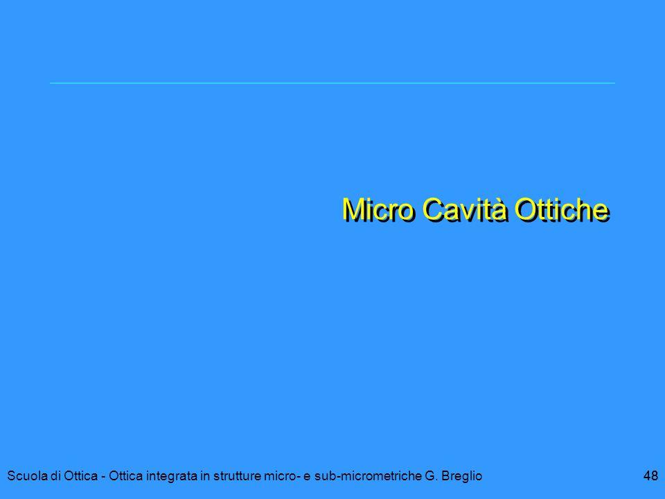48Scuola di Ottica - Ottica integrata in strutture micro- e sub-micrometriche G. Breglio48 Micro Cavità Ottiche