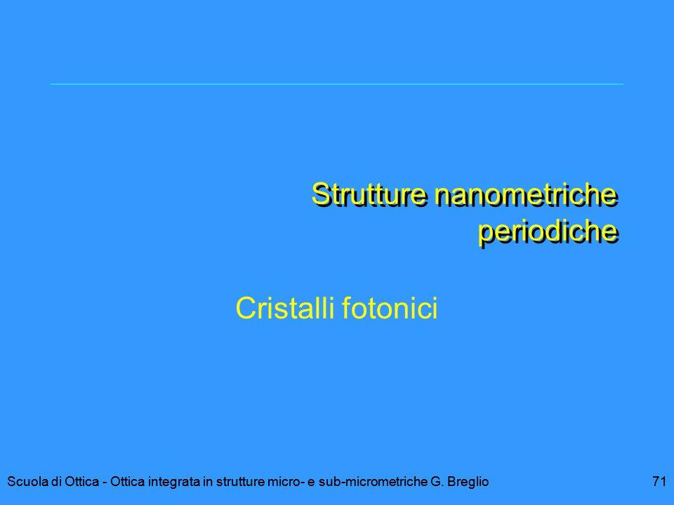 71Scuola di Ottica - Ottica integrata in strutture micro- e sub-micrometriche G. Breglio Strutture nanometriche periodiche Cristalli fotonici 71Scuola