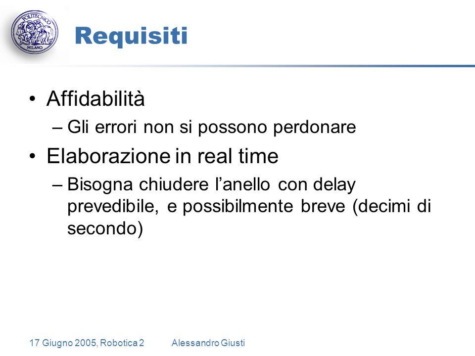 17 Giugno 2005, Robotica 2Alessandro Giusti Requisiti Affidabilità –Gli errori non si possono perdonare Elaborazione in real time –Bisogna chiudere l'anello con delay prevedibile, e possibilmente breve (decimi di secondo)
