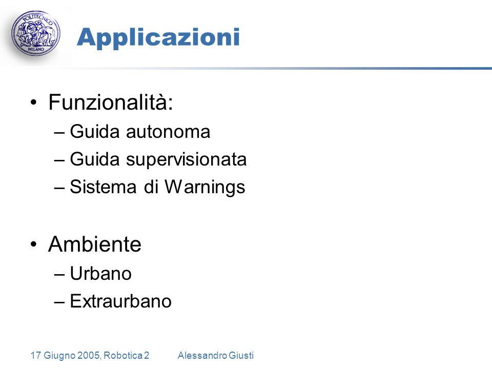 17 Giugno 2005, Robotica 2Alessandro Giusti Applicazioni Funzionalità: –Guida autonoma –Guida supervisionata –Sistema di Warnings Ambiente –Urbano –Extraurbano