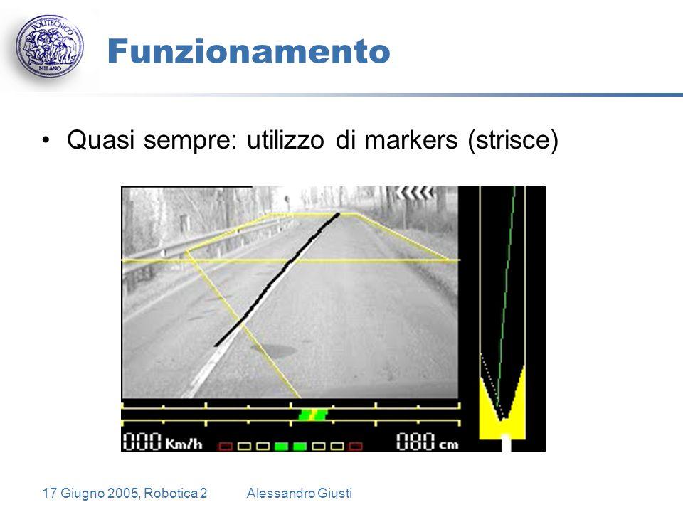 17 Giugno 2005, Robotica 2Alessandro Giusti Funzionamento Quasi sempre: utilizzo di markers (strisce)