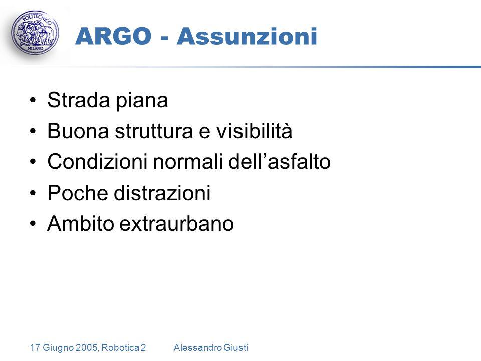 17 Giugno 2005, Robotica 2Alessandro Giusti ARGO - Assunzioni Strada piana Buona struttura e visibilità Condizioni normali dell'asfalto Poche distrazioni Ambito extraurbano