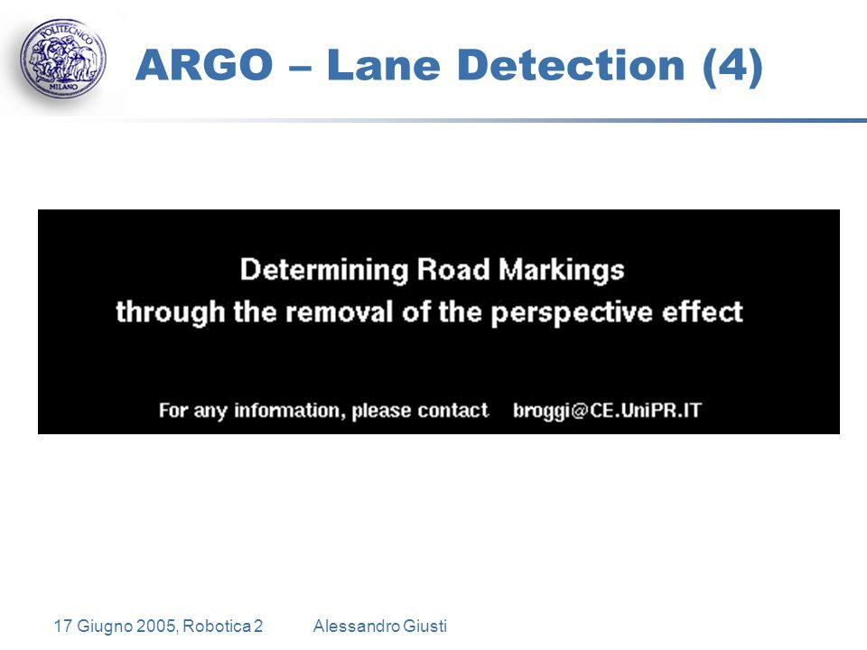 17 Giugno 2005, Robotica 2Alessandro Giusti ARGO – Lane Detection (4)
