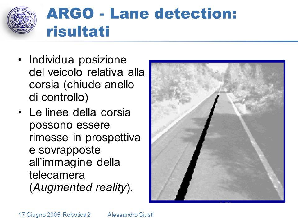 17 Giugno 2005, Robotica 2Alessandro Giusti ARGO - Lane detection: risultati Individua posizione del veicolo relativa alla corsia (chiude anello di controllo) Le linee della corsia possono essere rimesse in prospettiva e sovrapposte all'immagine della telecamera (Augmented reality).