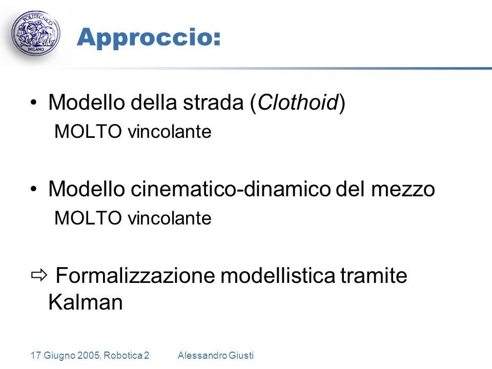 17 Giugno 2005, Robotica 2Alessandro Giusti Approccio: Modello della strada (Clothoid) MOLTO vincolante Modello cinematico-dinamico del mezzo MOLTO vincolante  Formalizzazione modellistica tramite Kalman