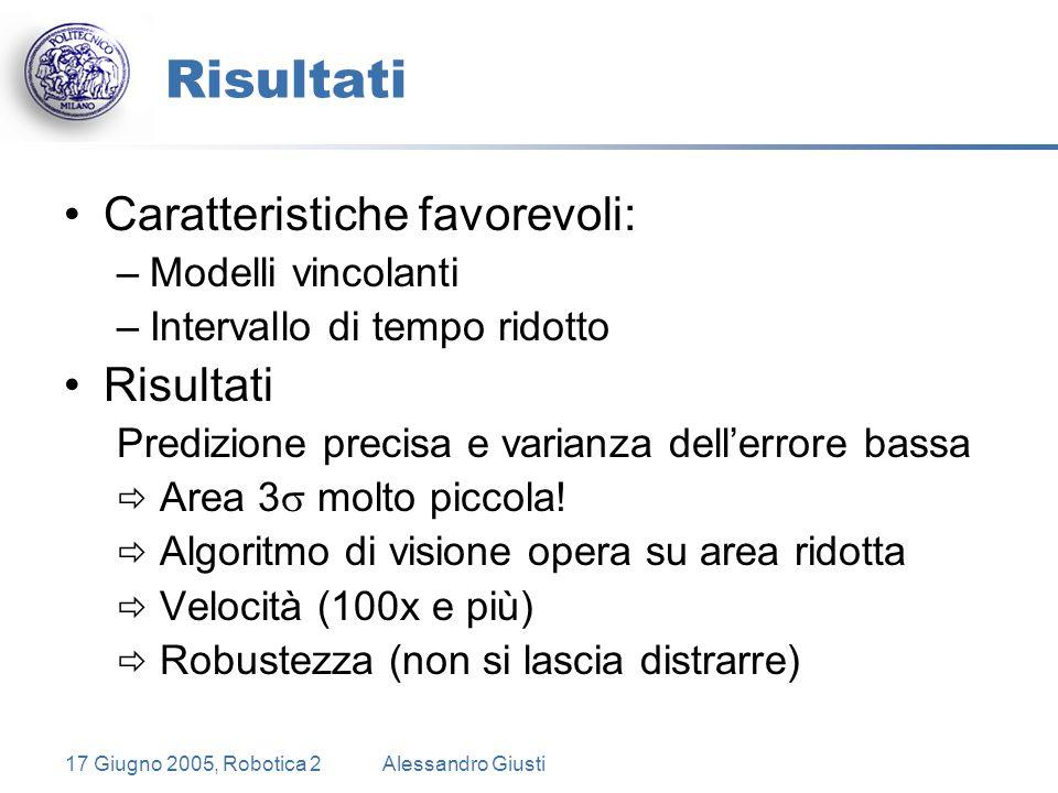 17 Giugno 2005, Robotica 2Alessandro Giusti Risultati Caratteristiche favorevoli: –Modelli vincolanti –Intervallo di tempo ridotto Risultati Predizione precisa e varianza dell'errore bassa  Area 3  molto piccola.
