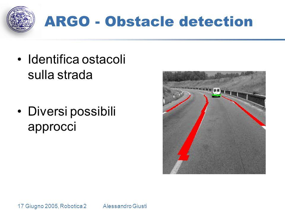 17 Giugno 2005, Robotica 2Alessandro Giusti ARGO - Obstacle detection Identifica ostacoli sulla strada Diversi possibili approcci