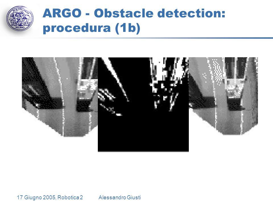 17 Giugno 2005, Robotica 2Alessandro Giusti ARGO - Obstacle detection: procedura (1b)